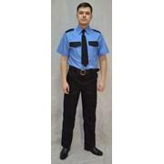 Рубашка охранника с коротким рукавом (голубая с черными клапанами) фото