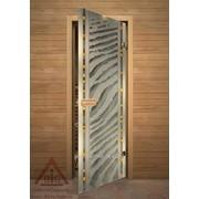 Дверь для бани АКМА АРТ с Фьюзингом САХАРА 7х19 (коробка липа) фото