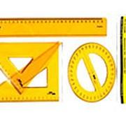 Геометрический набор Aristo: 2 угольника,линейка ,транспортир круглый, пластик