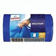 Пакеты для мусора, ВД, 35л, Paclan Multi-top, 64х50, 15мкм, с завязками, синие, 30шт/рулон фото