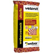 Клей Weber Vetonit Ultra Fix для крупноформатных материалов серый (25 кг) фото