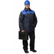 Куртка Бригадир-2 длинная, мужская тёмно-синяя с васильковым (тк. Оксфорд) фото
