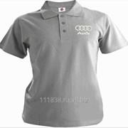Рубашка поло Audi серая вышивка белая фото