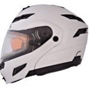 SOL Снегоходный шлем модуляр с двойным стеклом SM-1 Solid PEARL WHITE. фото