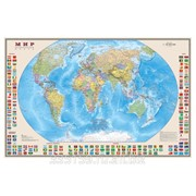 Карта настенная Мир. Политическая карта с флагами, М-1:30 млн., размер 122х79 см, ламинированная фото