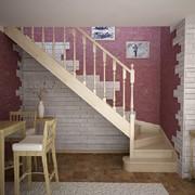 Комфортная деревянная лестница Katalonia L-type из клёна со скруглённой первой ступенью, ширина 95 см , ступень 24 см , высота 18 см с поворотом на 90 град.