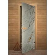 Дверь для бани АКМА АРТ с Фьюзингом ГАЛЬКА 7х19 (коробка липа)