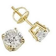 Серьги золотые гвоздики с бриллиантами SI1/G 0,20Ct фото