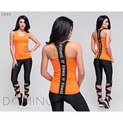 Модный спортивный костюм для фитнеса с необычными лосинами и майкой (3 цвета) фото
