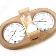 Термометр для бани и сауны Банные штучки с гигрометром и песочными часами фото