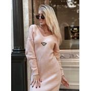 """Женское вязаное платье с """"V""""-образным вырезом в расцветках. М-1-1018 фото"""