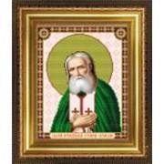 Икона ручной работы Святой Серафим Саровский вышитая бисером фото