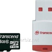 Карта памяти MicroSDHC 16GB Class 10 Transcend + USB-reader (TS16GUSDHC10-P3)