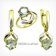 Кольцо и серьги с празиолитом. Золото 585. арт. 2098 фото