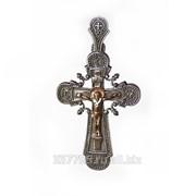 Крест серебряный с золотым распятием ПСЗ 015 фото