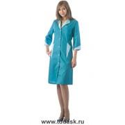 Спецодежда халат Марлен женский бирюзовый со светло-бирюзовым фото