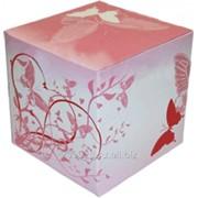 Коробка подарочная для кружки с окном Красные узоры фото