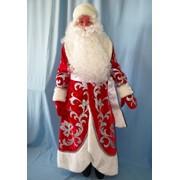 Костюм Дед Мороз Княжеский серебро (бархат, аппликация) фото