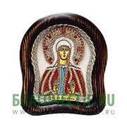 Дивеевские золотошвейные мастерские Ангелина святая мученица, дивеевская икона ручной работы из бисера Высота иконы 61 см фото