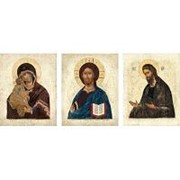 Мастерская копий икон Триптих: Господь Вседержитель - Донская Богородица - Иоанн Предтеча, копии старинных икон на иконной доске (ручная работа) фото