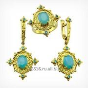Кольцо и серьги с голубым халцедоном. Золото 585. арт. 2110 фото