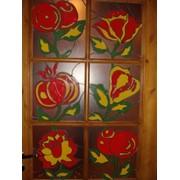 Витраж дверной Цветы фото