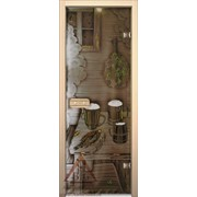 Дверь для бани АКМА АРТ с Фьюзингом ПРЕДБАННИК 7х19 (коробка липа) фото