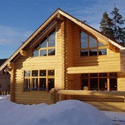 Строительство домов из оцилиндрованного бревна фото