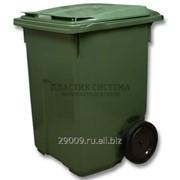 Контейнер для мусора 360 л с крышкой на колесах диаметром 300 мм фото