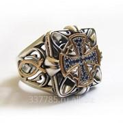 Перстень Спаситель серебряный с рыбками и крестом из сапфиров КСЗ 033 фото