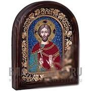Дивеевские золотошвейные мастерские Евгений святой мученик, дивеевская икона ручной работы из бисера Высота иконы 61 см фото