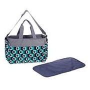 Сумка для хранения вещей малыша, с ковриком для пеленания, цвет серый/бирюзовый фото