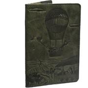 Кожаная обложка для паспорта Turtle passport cover, art adventure зеленая. фото