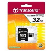 32Gb Transcend карта памяти microSDHC, Class 4, Адаптер SD