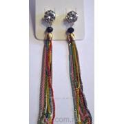 Женские серьги с цепочками. Разноцветная бижутерия недорого в Росии. 1893 фото