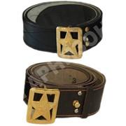 Ремень генеральский кожаный коричневого цвета со звездой фото