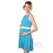 339.0.7 Платье с пояском бирюза/экрю для беременных и кормящих фото