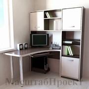 Угловой компьютерный стол + стеллаж и полка РМ-03.14 фото