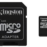 8Gb Kingston карта памяти microSDHC, Class 10, Адаптер SD, SDC10/8GB