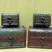 Набор деревянных сундучков 2шт. состаренных, арт. 302 фото