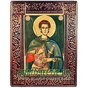 Благовещенская икона Димитрий Солунский, святой великомученик, копия старинной иконы в окладе из чеканной меди Высота иконы 26 см фото