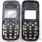 Nokia 1208, 1209 Передняя панель корпуса с защитным стеклом дисплея, Black фото