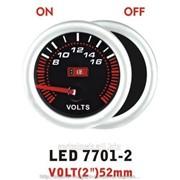 Вольтметр 7701-2 LED стрелочный диаметр 52мм. фото