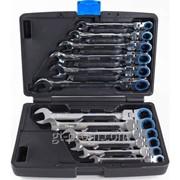 Набор ключей трещоточных с полукарданом 72 зуба в пласт. кейсе 12пр. ARW-12MK15 фото