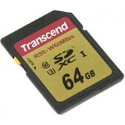 Карта памяти SD 64GB Class 10 U3 Transcend TS64GSDU3