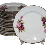 Набор тарелок 18 предметов 1258 дот роза 01570 фото