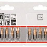 Набор Bosch из 10 бит 25 мм PH2 TIN (2.607.001.547) фото