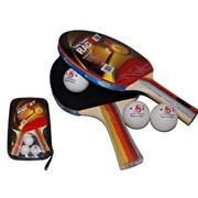 Набор для настольного тенниса 3 звезды. 2 ракетки, 3 шарика, в чехле 3215 фото