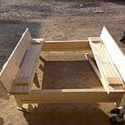 Песочница с крышкой 1.2х1.2 м из сухой строганной доски фото