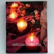 Картина с подсветкой / Вечер / Свечи, розы e12302 фото